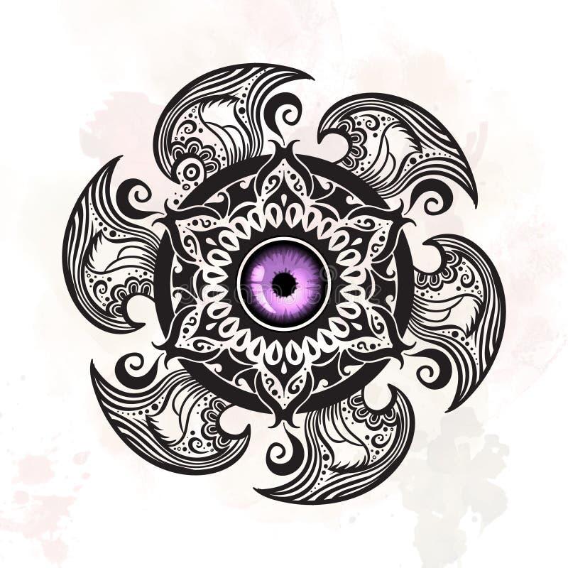 Hand getrokken abstracte mysticusmandala royalty-vrije illustratie