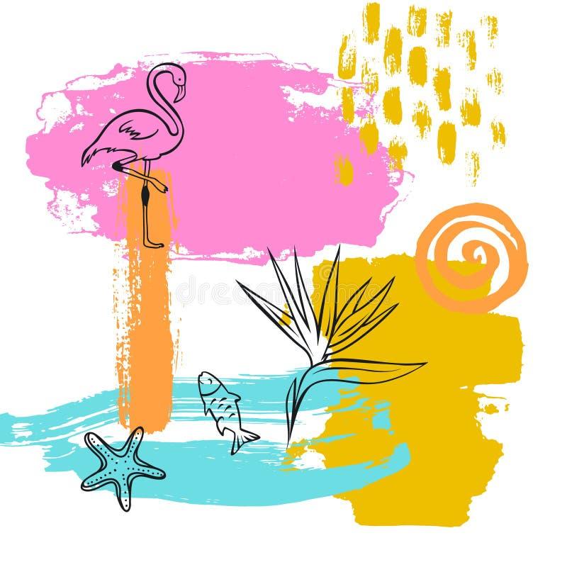 Hand getrokken abstracte originele van het de vakantiestrand van de de zomertijd van de de verfborstel van de de kunstslag geweve royalty-vrije illustratie