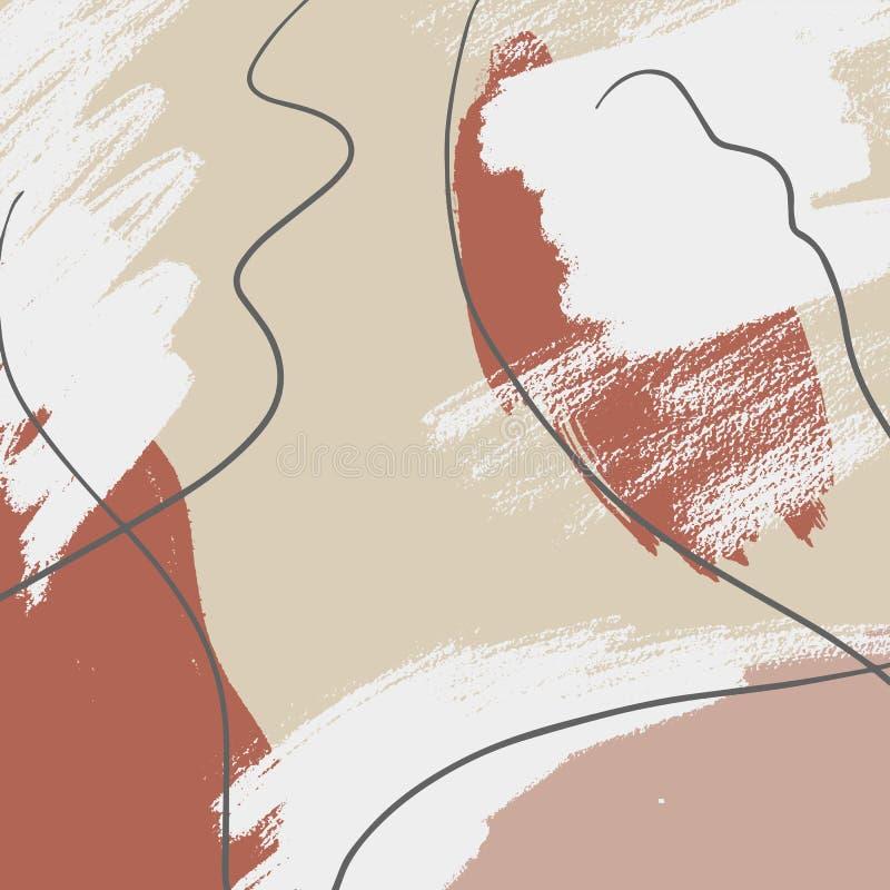 Hand getrokken abstracte samenstelling in pastelkleur colorModern textiel, groetkaart, affiche, het verpakken document ontwerpen royalty-vrije stock afbeelding