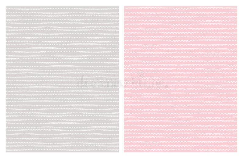 Hand Getrokken Abstracte Sleep Vectorpatronen wit Lichtgrijs en Roze Ontwerp stock illustratie