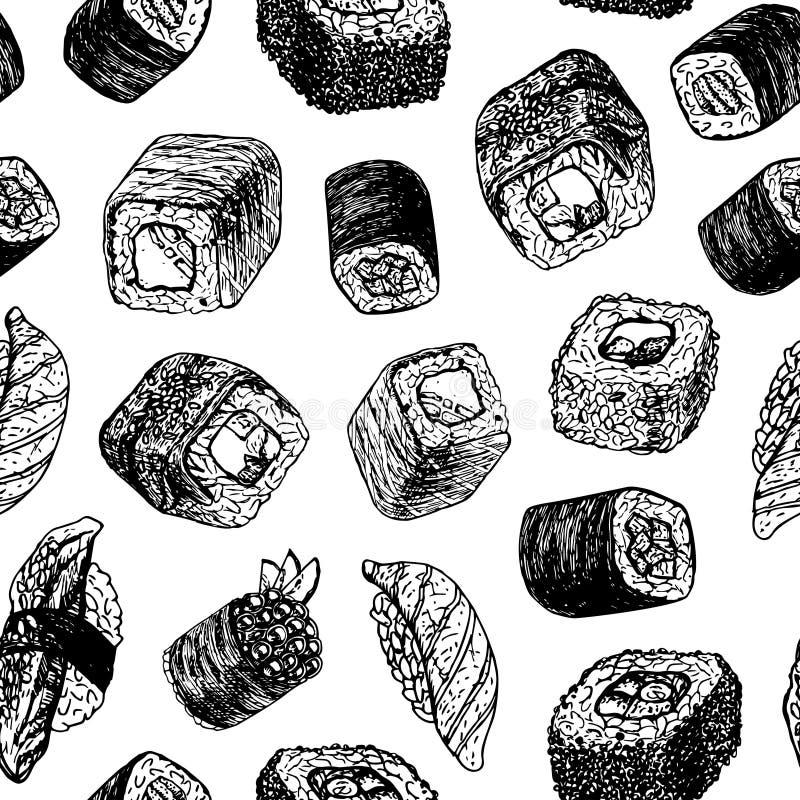 Hand getrokken achtergrond met sushi en broodjes Vector naadloos patroon stock illustratie