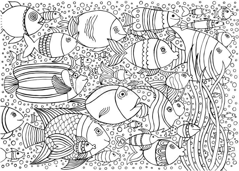 Hand getrokken achtergrond met vele vissen in het water Het overzeese het levensontwerp voor ontspant en meditatie stock illustratie
