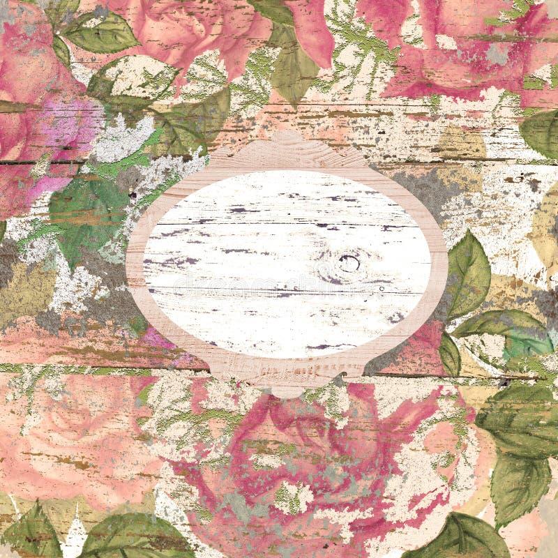 Hand getrokken achtergrond van sjofele elegante rozen, kader royalty-vrije illustratie