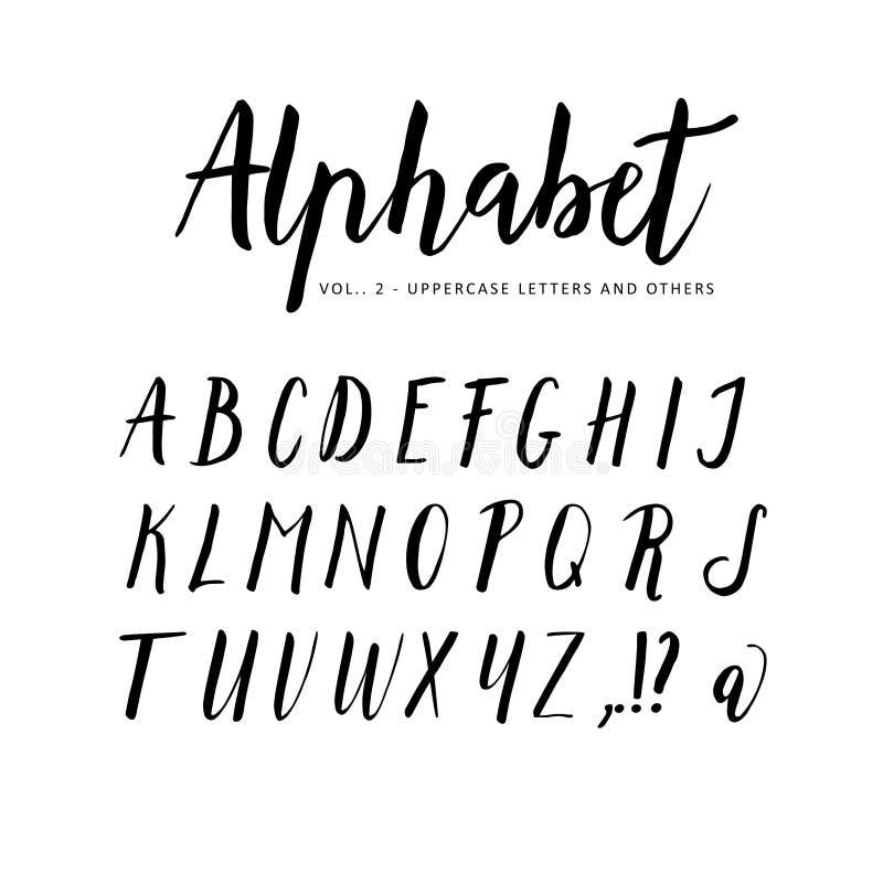 Hand getrokken Alfabet De doopvont van de manuscriptborstel royalty-vrije illustratie