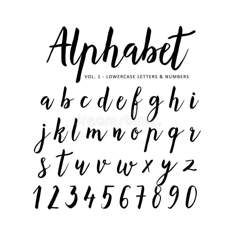 Hand getrokken Alfabet Manuscriptdoopvont Borsteldoopvont