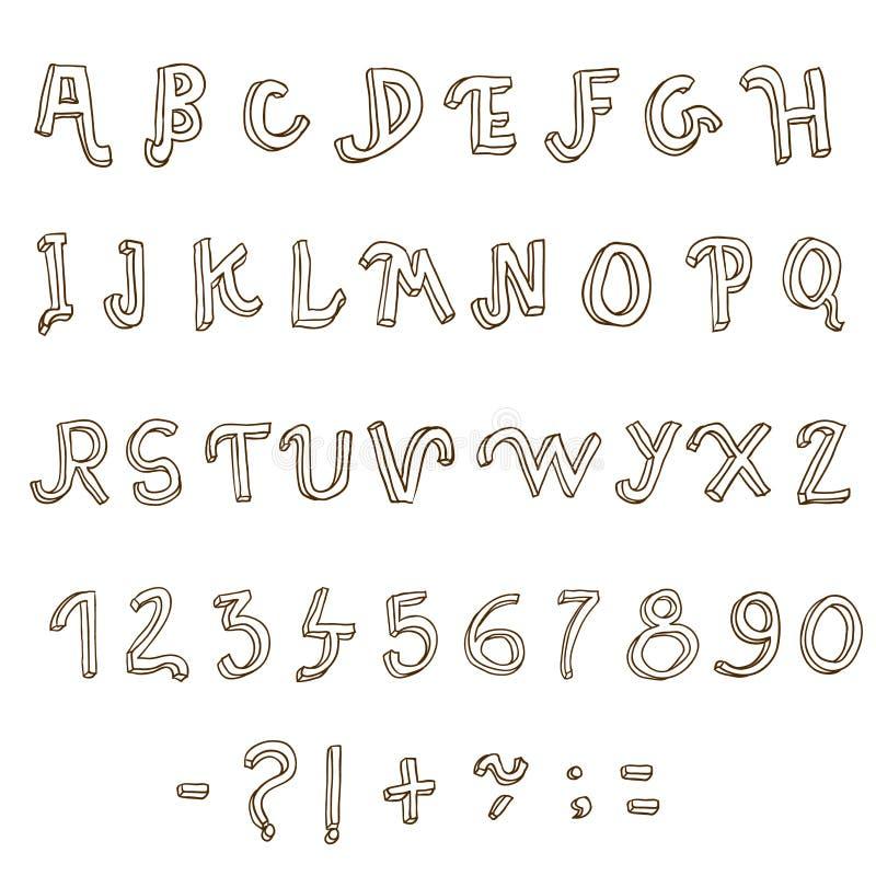 Hand getrokken alfabet. Met de hand geschreven doopvont royalty-vrije illustratie