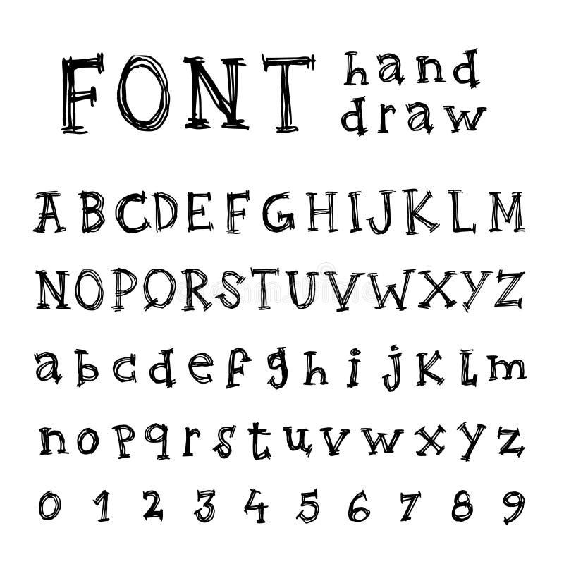 Hand getrokken Alfabet Met de hand geschreven doopvont - royalty-vrije illustratie