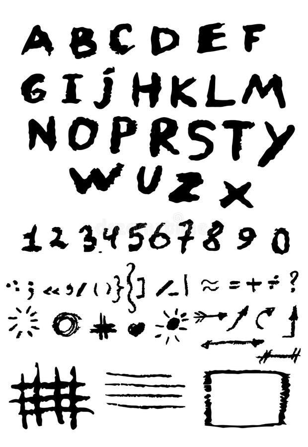 Hand getrokken alfabetontwerp, gekraste stijl, verschrikkingsstijl, royalty-vrije illustratie