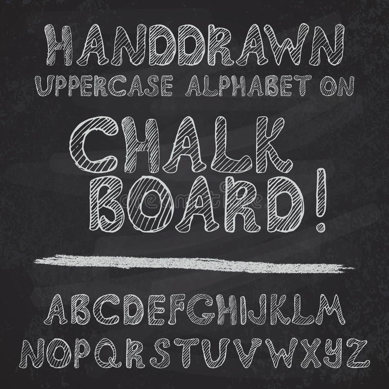 Hand getrokken alfabetontwerp op schoolbord, ruwe vectordoopvontleters in hoofdletters vector illustratie