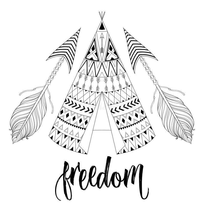 Hand getrokken Amerikaanse inheemse wigwam met etnisch sierelement stock illustratie