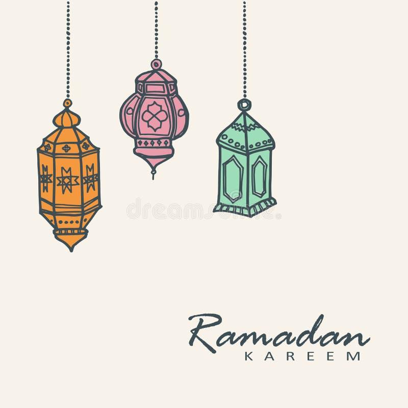 Hand getrokken Arabische lantaarns, Ramadanillustratie