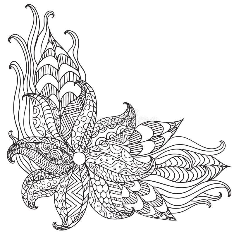 Hand getrokken artistiek etnisch sier gevormd bloemenkader vector illustratie