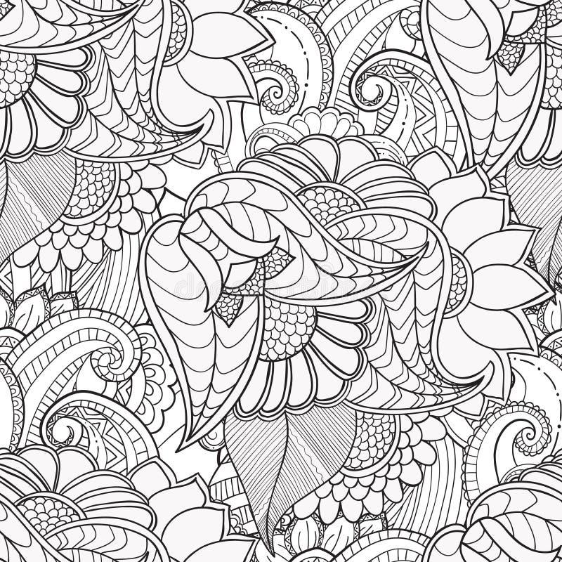 Hand getrokken artistiek etnisch sier gevormd bloemenkader royalty-vrije illustratie