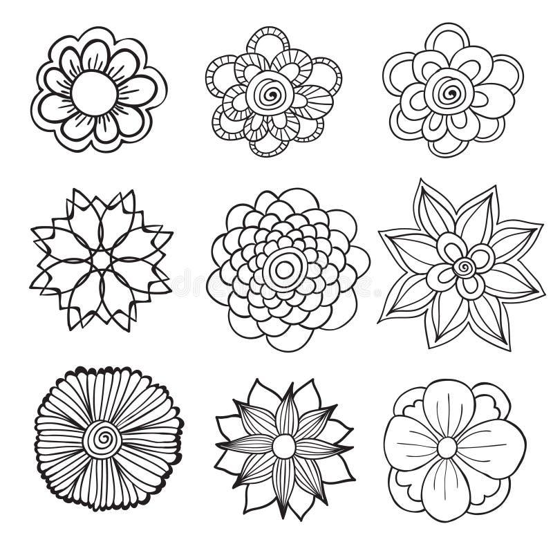 Hand getrokken artistiek etnisch sier gevormd bloemenkader binnen stock illustratie