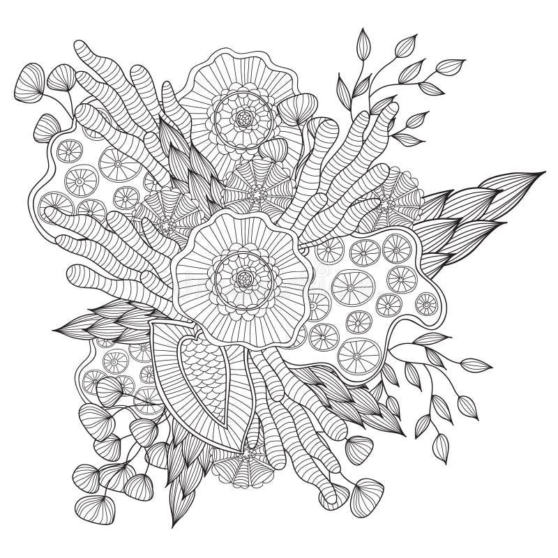 Hand getrokken artistiek etnisch sier gevormd bloemenkader in krabbelstijl, volwassen kleurende pagina's royalty-vrije illustratie