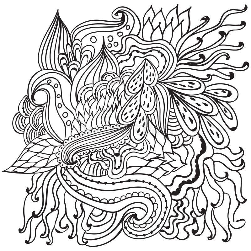 Hand getrokken artistiek etnisch sier gevormd bloemenkader in krabbelstijl, volwassen kleurende pagina's, tatoegering royalty-vrije illustratie
