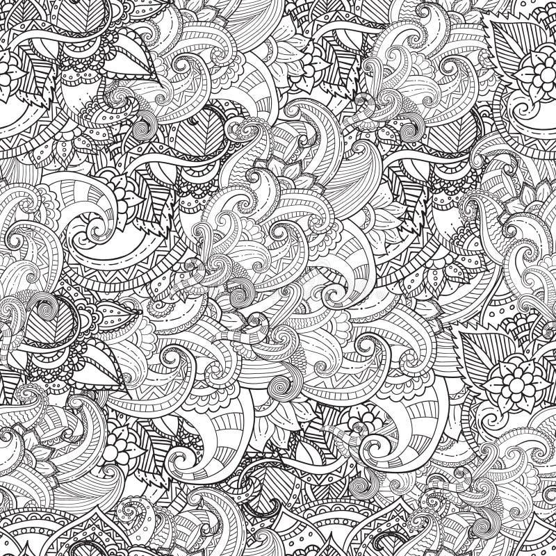 Hand getrokken artistiek etnisch sier gevormd bloemenkader in krabbelstijl voor volwassen kleurende pagina's stock foto