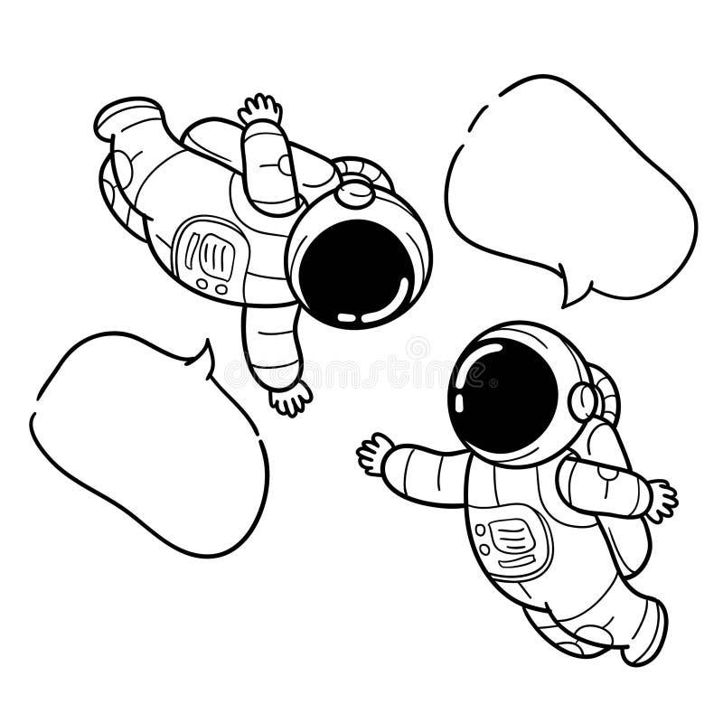 Hand getrokken astronautenbericht stock illustratie