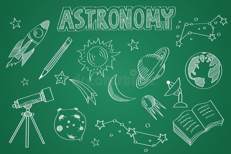 Hand getrokken Astronomiereeks Krijt op het bord stock illustratie