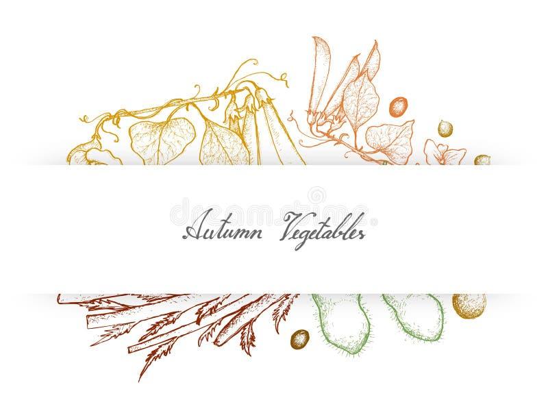 Hand Getrokken Autumn Vegetables van Groene Erwten, Sojabonen en Knolselder stock illustratie