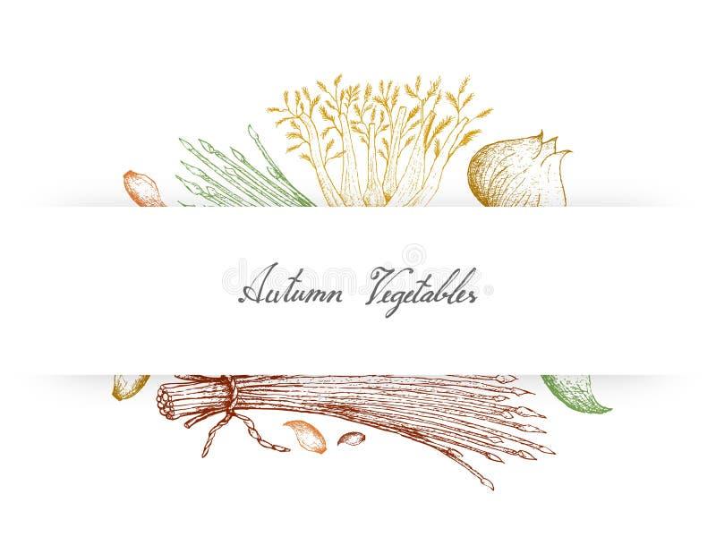 Hand Getrokken Autumn Vegetables van Selderie, Bieslook, Venkel en Knoflook stock illustratie