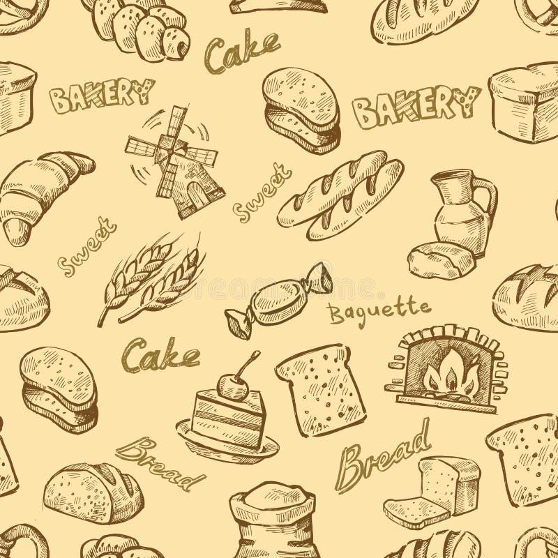 Hand getrokken bakkerij vector illustratie