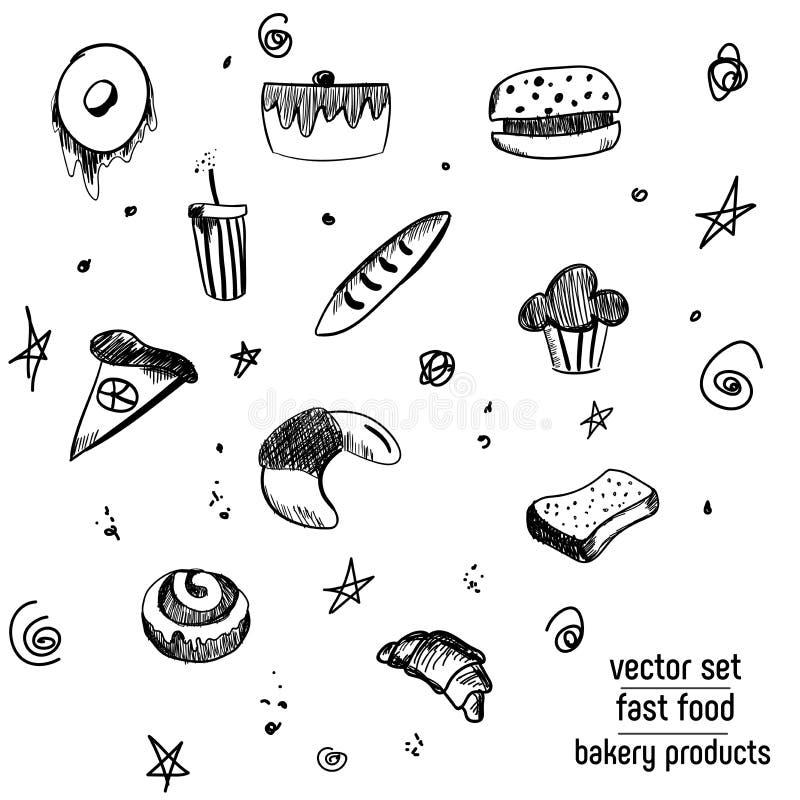 Hand Getrokken bakkerij en snel voedselpictogramreeks Bordstickers met krijtontwerp Vector illustratie Doughnut, soda, pizza en b vector illustratie