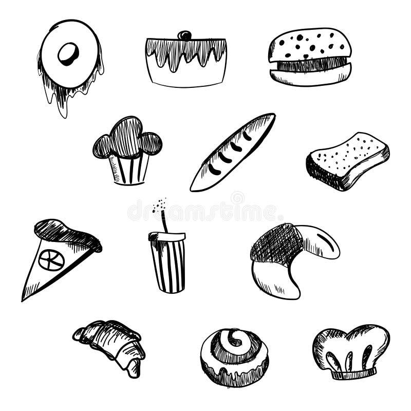 Hand Getrokken bakkerij en snel voedselpictogramreeks Bordstickers met krijtontwerp Vector illustratie Doughnut, soda, pizza en b stock illustratie