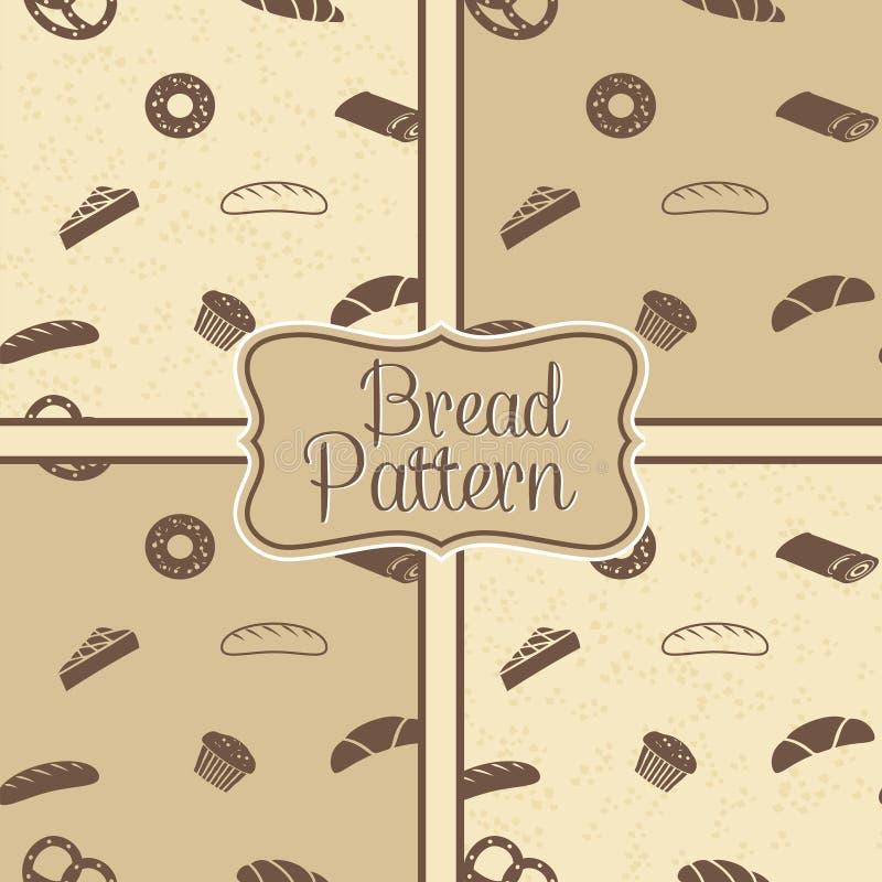 Hand getrokken bakkerij naadloos patroon stock illustratie