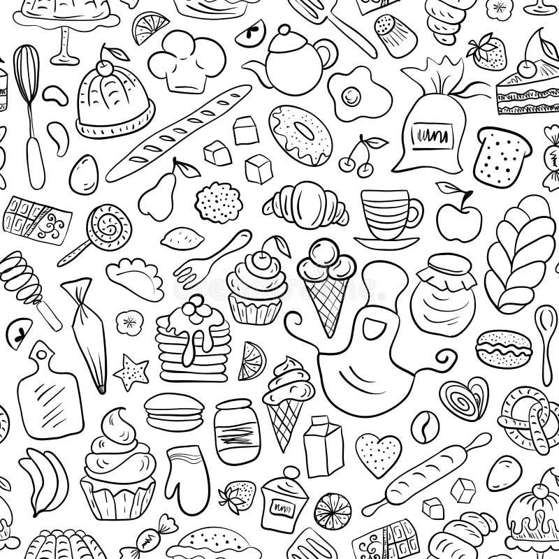 Hand getrokken bakkerij naadloos patroon stock foto