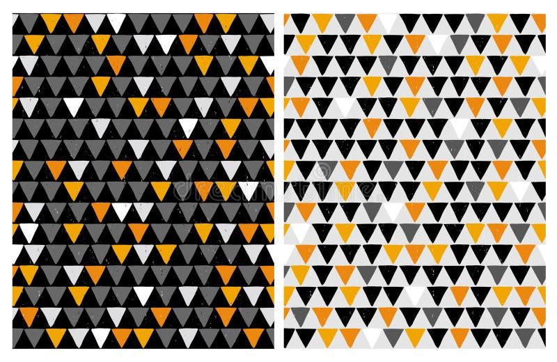 Hand Getrokken Bastract-Driehoeken Vectorpatronen Halloween-kleuren royalty-vrije illustratie