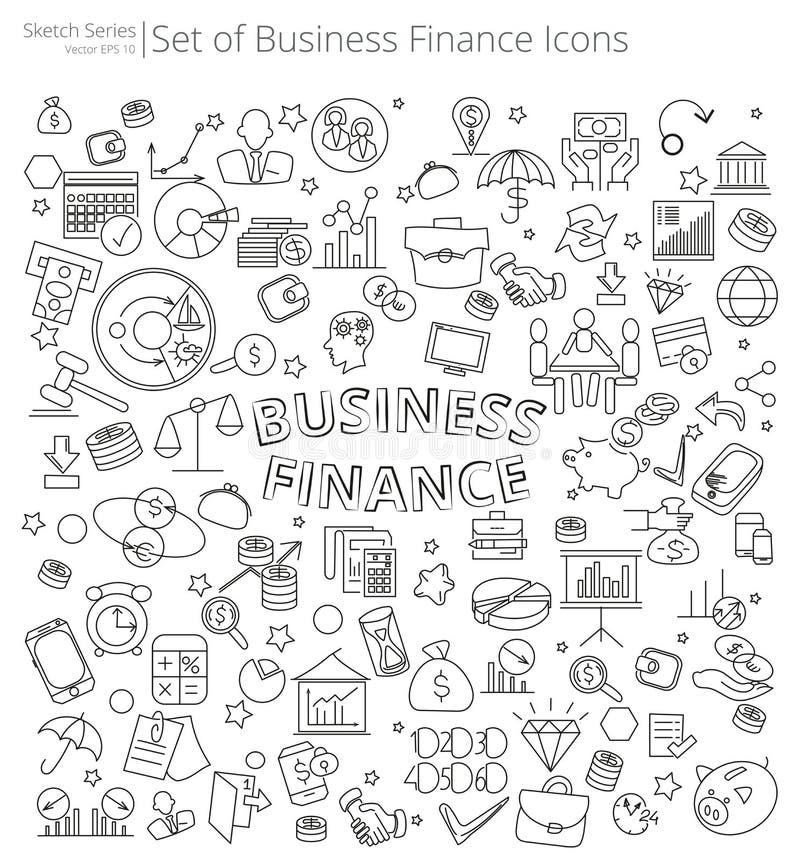 Hand Getrokken Bedrijfs en Financiënpictogrammen stock illustratie