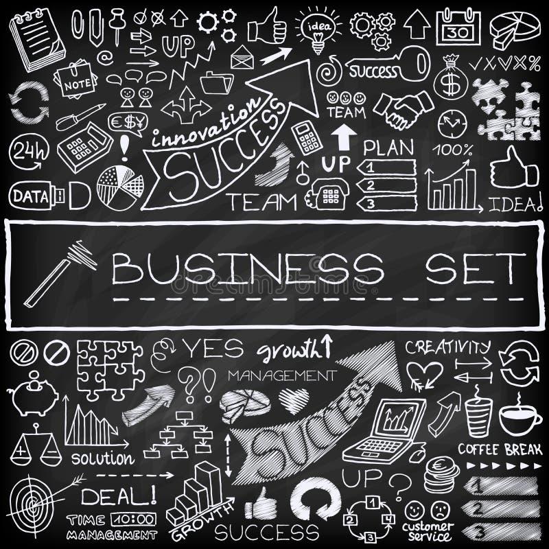 Hand getrokken bedrijfs geplaatste pictogrammen royalty-vrije illustratie