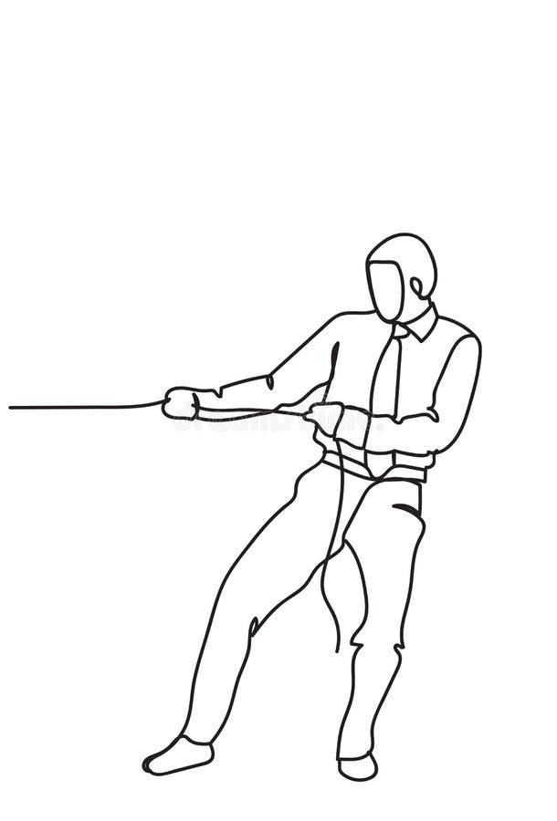 Hand Getrokken Bedrijfsmens die Kabel Sterke Zakenman Competition Concept trekken vector illustratie