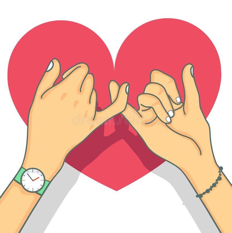Hand getrokken belofte met hart royalty-vrije illustratie