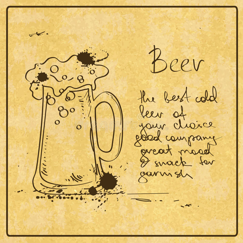Hand getrokken Bier royalty-vrije illustratie