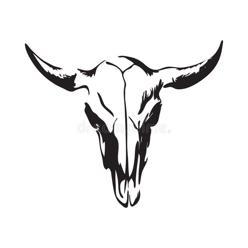 Hand getrokken bizonschedel De vectorillustratie van de buffelsschedel Zwarte op witte achtergrond wordt geïsoleerd die vector illustratie