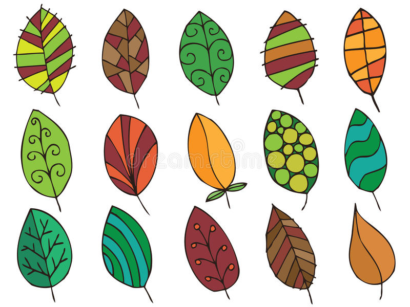 Hand getrokken bladeren stock illustratie