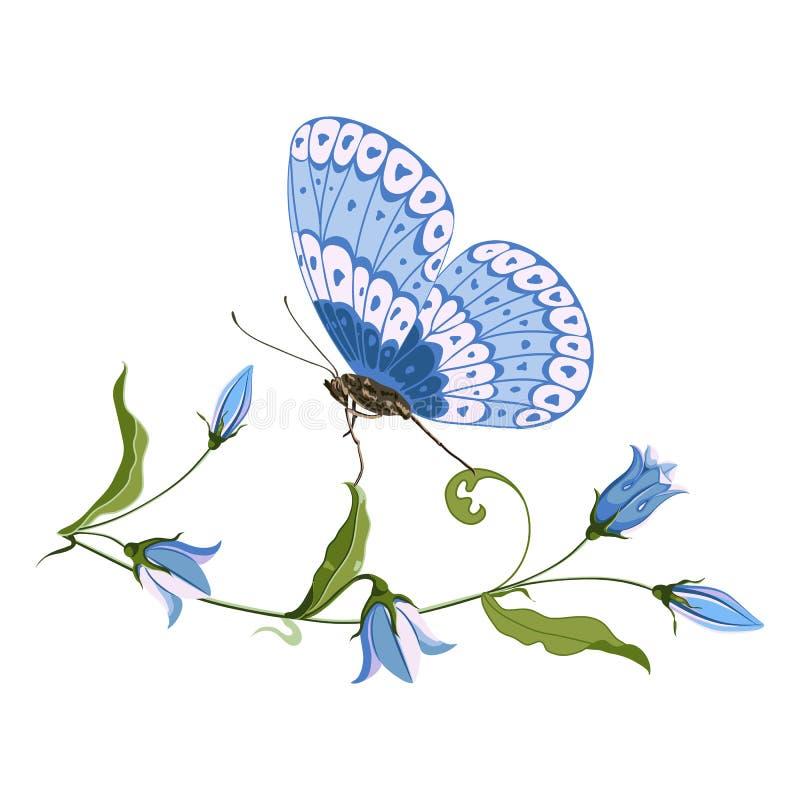 Hand getrokken blauwe klokbloem en vlinder, samenstelling voor ontwerp op witte achtergrond vector illustratie