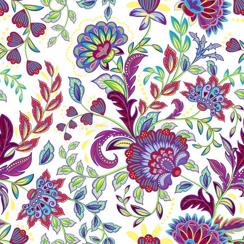 Hand getrokken bloem naadloos patroon Kleurrijk naadloos patroon met het pargeting van grunge capricieuze bloemen, Paisley royalty-vrije illustratie