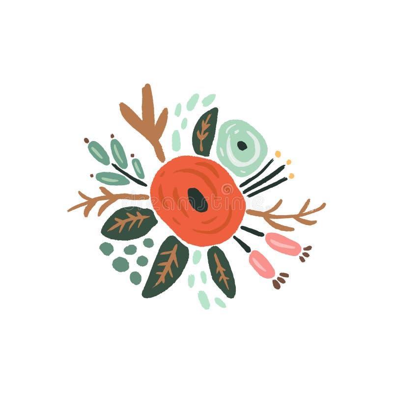 Hand getrokken bloemen met takken Pastelkleuren, boeket in krabbelstijl Vectorinstallaties vector illustratie