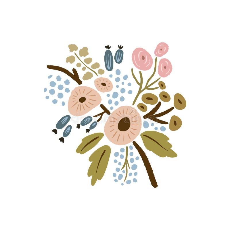 Hand getrokken bloemen met takken Pastelkleuren, boeket in krabbelstijl Vectorinstallaties royalty-vrije illustratie