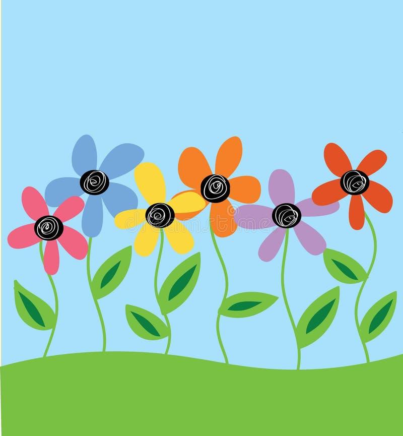 Hand getrokken bloemen op gebied royalty-vrije illustratie