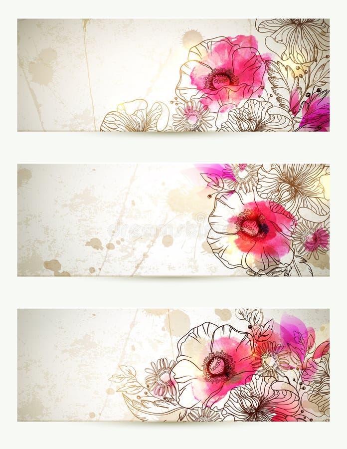 Hand getrokken bloemen uitstekende illustraties Reeks van drie achtergronden met bloementak en papavers Abstract roze royalty-vrije illustratie