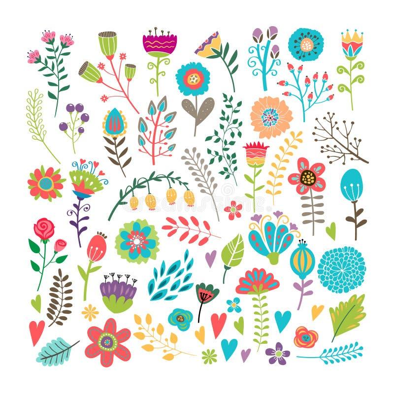 Hand getrokken bloemenelementen stock illustratie