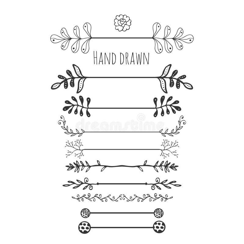 Hand getrokken bloemenelementen Inzamelingshand getrokken grens met de decoratie van de inktkrabbel Retro stijl Laurels, bladeren vector illustratie