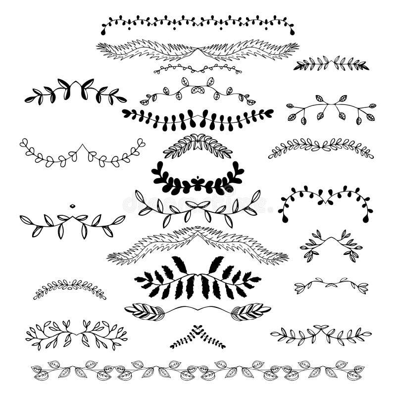 Hand getrokken bloemengrenzen, domoren, verdelers, kronen royalty-vrije illustratie