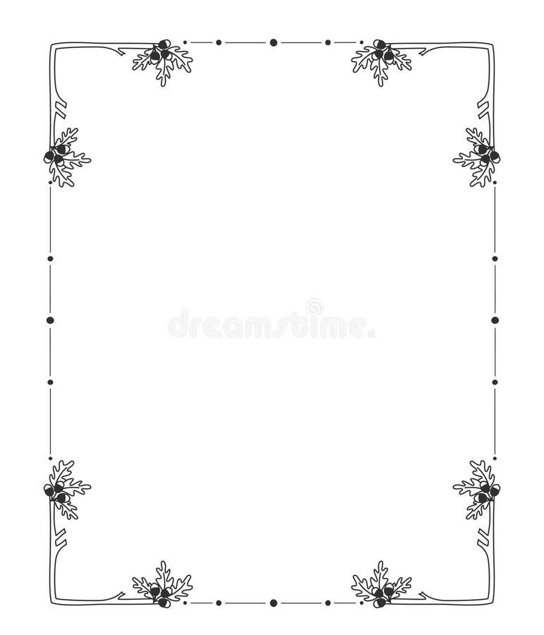 Hand getrokken bloemengrenzenkader r royalty-vrije illustratie