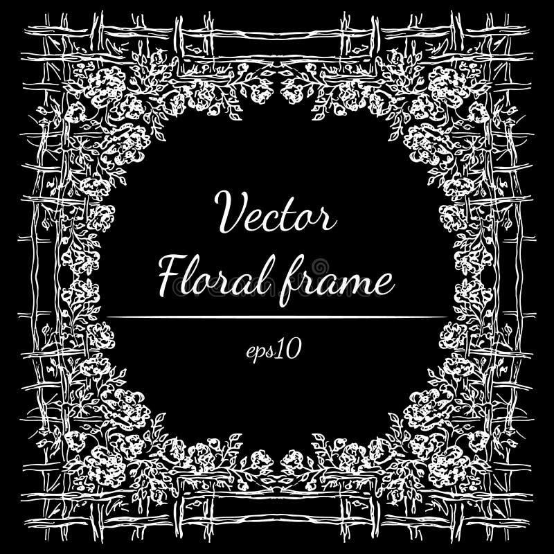 Hand getrokken bloemenkaderoverzicht Vector malplaatjeontwerp Hand getrokken vectorart. De achtergrond van de bloem Barokke aard  royalty-vrije stock afbeelding