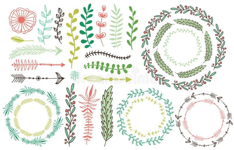 Hand getrokken bloemenkaders Bloei decoratieve elementen Bloemendecoratie voor uitnodigingskaart Bladeren, takken en pijlen stock illustratie